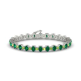 14K White Gold Bracelet with Emerald & Peridot