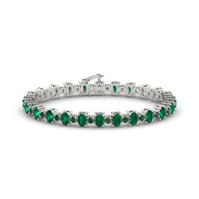 14K White Gold Bracelet with Emerald & Alexandrite