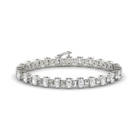 14K White Gold Bracelet with White Sapphire & Rock Crystal