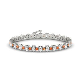 14K White Gold Bracelet with White Sapphire and Fire Opal