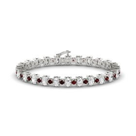14K White Gold Bracelet with White Sapphire and Red Garnet