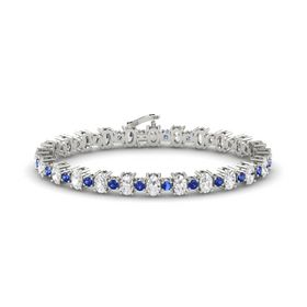 14K White Gold Bracelet with White Sapphire & Sapphire