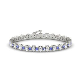 14K White Gold Bracelet with White Sapphire & Tanzanite