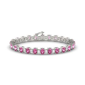 14K White Gold Bracelet with Pink Sapphire & White Sapphire