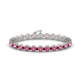 14K White Gold Bracelet with Pink Sapphire & Ruby