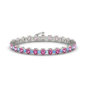 14K White Gold Bracelet with Pink Sapphire and Blue Topaz