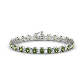 14K White Gold Bracelet with Green Tourmaline & Diamond