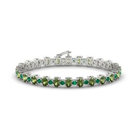14K White Gold Bracelet with Green Tourmaline & Emerald