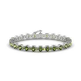 14K White Gold Bracelet with Green Tourmaline