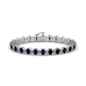 14K White Gold Bracelet with Black Onyx and Amethyst