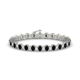 14K White Gold Bracelet with Black Onyx & White Sapphire