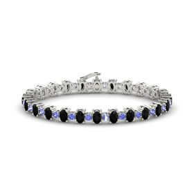 14K White Gold Bracelet with Black Onyx and Tanzanite