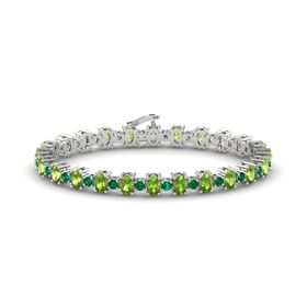 14K White Gold Bracelet with Peridot & Emerald