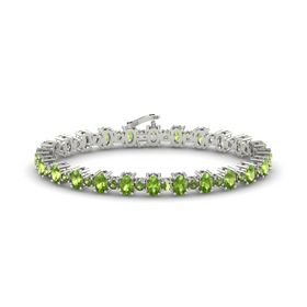 14K White Gold Bracelet with Peridot and Green Tourmaline