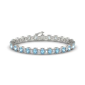 14K White Gold Bracelet with Aquamarine & Diamond