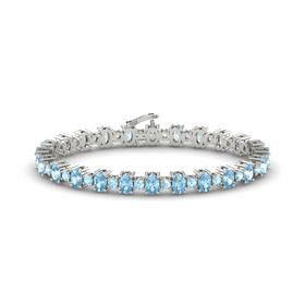 14K White Gold Bracelet with Aquamarine