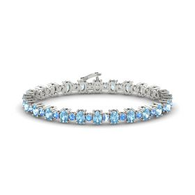 14K White Gold Bracelet with Aquamarine & Blue Topaz