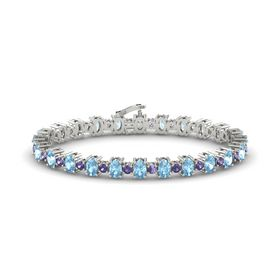 14K White Gold Bracelet with Aquamarine and Iolite