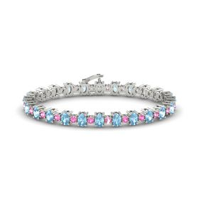 14K White Gold Bracelet with Aquamarine & Pink Tourmaline
