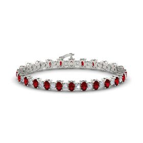 14K White Gold Bracelet with Ruby & Diamond