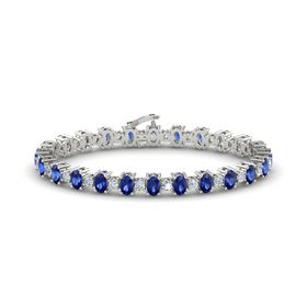14K White Gold Bracelet with Sapphire & Diamond