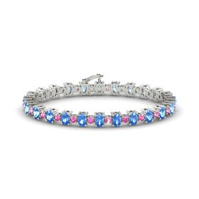 14K White Gold Bracelet with Blue Topaz & Pink Sapphire