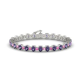 14K White Gold Bracelet with Iolite and Pink Sapphire