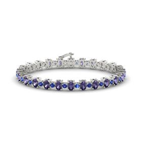 14K White Gold Bracelet with Iolite and Blue Sapphire
