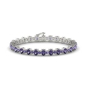 14K White Gold Bracelet with Iolite