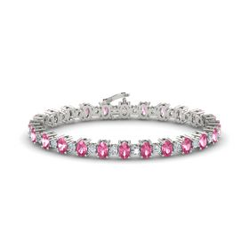 14K White Gold Bracelet with Pink Tourmaline & Diamond