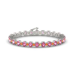 14K White Gold Bracelet with Pink Tourmaline and Fire Opal