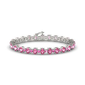 14K White Gold Bracelet with Pink Tourmaline & Pink Sapphire