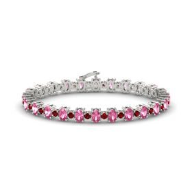 14K White Gold Bracelet with Pink Tourmaline & Ruby