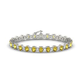 14K White Gold Bracelet with Yellow Sapphire & Diamond