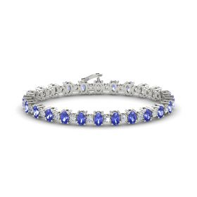 14K White Gold Bracelet with Tanzanite & Diamond