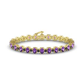 14K Yellow Gold Bracelet with Amethyst and Black Diamond