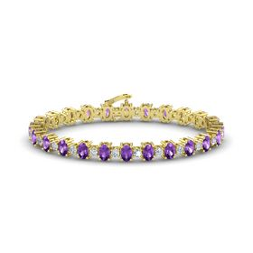 14K Yellow Gold Bracelet with Amethyst & Diamond