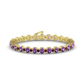 14K Yellow Gold Bracelet with Amethyst & Red Garnet