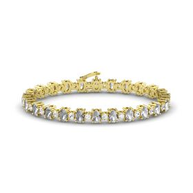 14K Yellow Gold Bracelet with Rock Crystal and White Sapphire