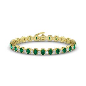 14K Yellow Gold Bracelet with Emerald & Diamond