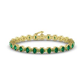 14K Yellow Gold Bracelet with Emerald and Green Tourmaline