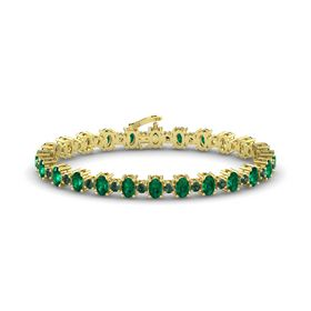 14K Yellow Gold Bracelet with Emerald & Alexandrite