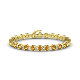 14K Yellow Gold Bracelet with Citrine & Diamond