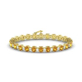 14K Yellow Gold Bracelet with Citrine and White Sapphire