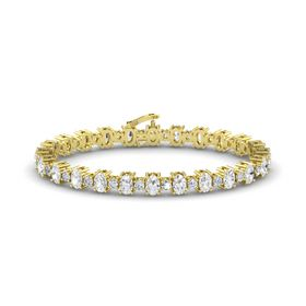 14K Yellow Gold Bracelet with White Sapphire and Diamond