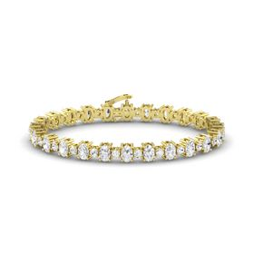 14K Yellow Gold Bracelet with White Sapphire