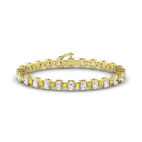 14K Yellow Gold Bracelet with White Sapphire and Yellow Sapphire