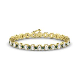 14K Yellow Gold Bracelet with White Sapphire & Alexandrite