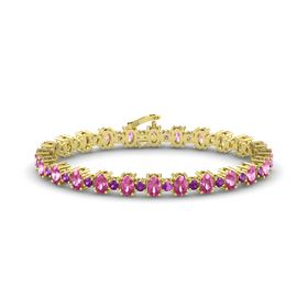 14K Yellow Gold Bracelet with Pink Sapphire and Rhodolite Garnet