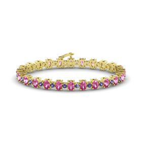 14K Yellow Gold Bracelet with Pink Sapphire and Iolite